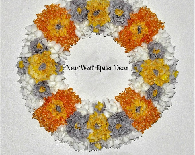 Spring Wedding wreath, orange wreath, grey wreath, Spring decor, yellow wreath, white wreath, fabric wreath, year round wreath, custom,