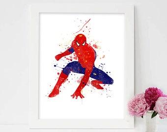 Spiderman Wall Art spiderman poster watercolor spider man superhero spiderman