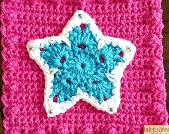 Crochet Star Applique Granny Square PATTERN: Like a BOSS Blanket Series pdf instant digital download