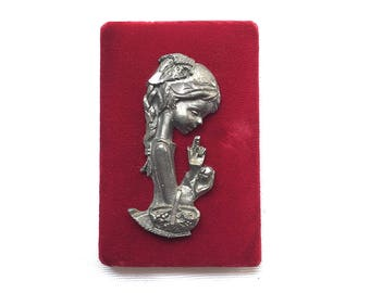 Vintage | Velvet | Pewter | Wall Plaque | Girl with Flowers
