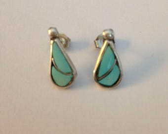 Turquoise Silver Inlay Earrings