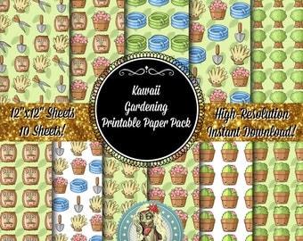 Gardening Digital Paper Pack, Garden Art, Gardening Clipart, Gardening Clip Art, Gardening Gloves, Gardening Tools, Kawaii, Kawaii Clipart