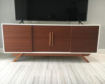 NEW Hand Built Mid Century Inspired Buffet / Credenza. Mahogany two tone four door with angled leg base.