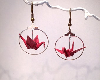Earrings origami cranes red in silver ring
