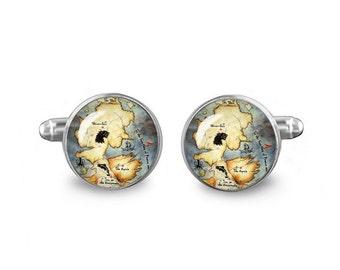 Game of Thrones Cuff Links Westeros Map 16mm Cufflinks Gift for Men Groomsmen Novelty Cuff links Fandom Jewelry