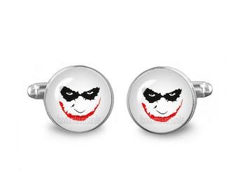 Joker Cuff Links 16mm Villains Cufflinks Gift for Men Groomsmen Novelty Cuff links Fandom Jewelry