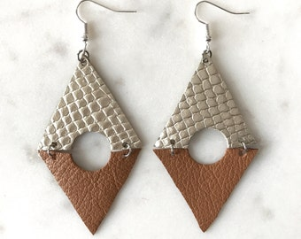 Triangle Peep Geometric Leather Earrings