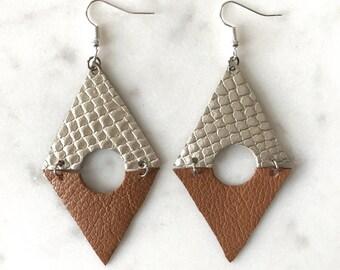 Triangle Peep Geometric Leather Earrings-Abstract-Diamond