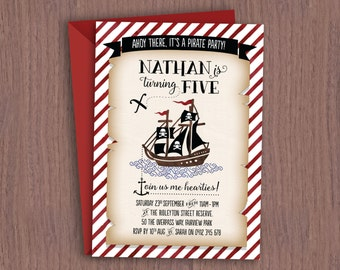 Pirate Theme Kid's Birthday Invitation // Digital Birthday Invitation for Boy or Girl of Any Age // Kids Pirate Party Birthday Invite