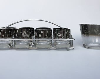 Atomic Starburst Lowball Drinking Glass Set w/ Ice Bucket and Caddy Mid Century Modern