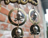 Sterling Silver and Gold Ocotpus Hoop charm earrings - Loving Arms