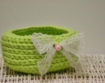 READY TO SHIP - Crochet Basket - Handmade Basket - Shabby Chic Basket- Make up Organiser