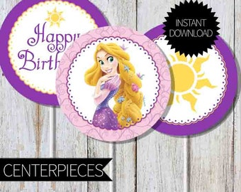 Rapunzel Tangled Birthday Party PRINTABLE Centerpieces- Instant Download | Princess Rapunzel | Disney Tangled | Cake Topper