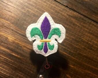 Mardi Gras Fleur de Lis Badge Reel