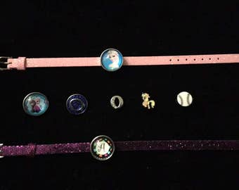 Custom Order Bracelets for Linda - Two Bracelets with Snaps and Sliding Charms