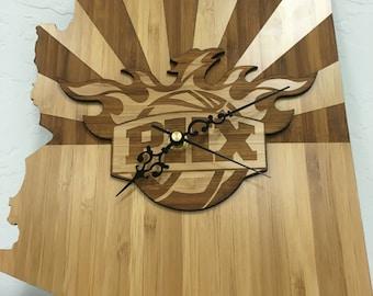 Phoenix suns bamboo clock
