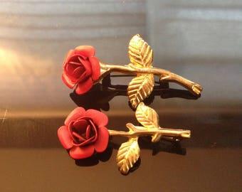 Vintage  Pair of Rose Lapel Pins