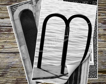 Letter M Alphabet Photography, BLACK AND WHITE 4x6 Photo Letter, Photography Letter Art