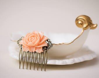 Salmon pink//Rose flower hair comb//Bridal Hair Comb//Vintage//Antique Filigree//Nickel Free//Bridesmaid gifts