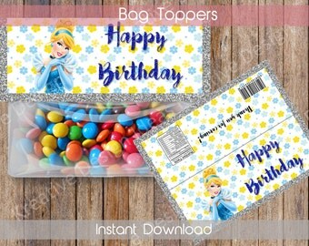 Cinderella Bags Topper Cinderella Party Favors CinderellaPrintable Bag Toppers Cinderella Treat Bag Toppers Birthday Party INSTANT DOWNLOAD