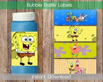 Spongebob Bubble Bottle Labels Spongebob Bubble Bottle Labels Spongebob Party Printables Spongebob Theme Birthday Party - INSTANT DOWNLOAD