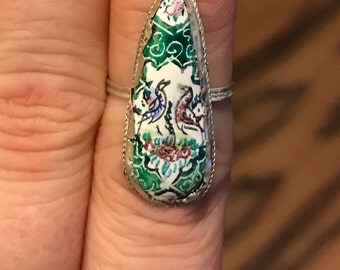 Vintage Handcrafted Porcelain and Silver Ring