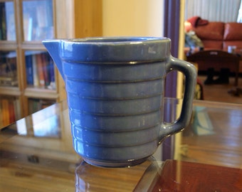 Antique Early American Stoneware Blue Glaze Pitcher Stamped USA on the Bottom