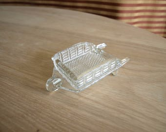 Glass Wheelbarrow Ashtray by L.E. Smith