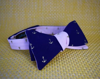 Gold Anchors on Navy/Gold Triangles on Pink Bow Tie