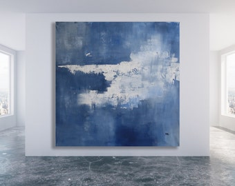 XL Minimalist Painting / Abstract Art / Blue and White Painting / Blue and White Abstract Art / Texture Painting / Large Painting