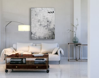 XL White Abstract Painting / Texture Painting / Black and White Art / Large White Painting / Modern Art / White Texture Painting