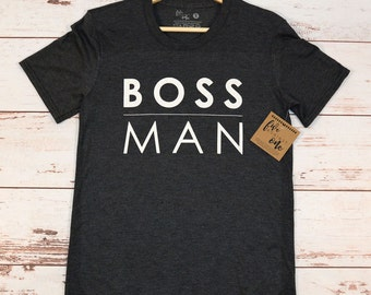 Boss Man Men's T-Shirt, Crew Neck, Father's Day Gift, New Dad, Birthday Gift, Men's Clothing, Men's Tee, Graphic Tee