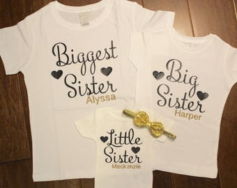 Biggest Sister shirt, Big Sister Shirt, Little Sister bodysuit,  Biggest Sister, Big Sister, Little Sister, New baby, Pregnancy Reveal shirt