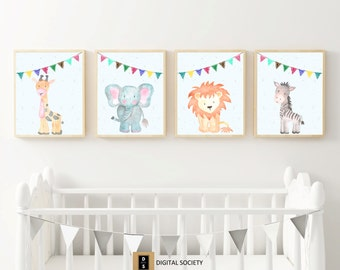 nursery, wall art, print, set, watercolour, watercolor, animal, lion, elephant, printable, instant download