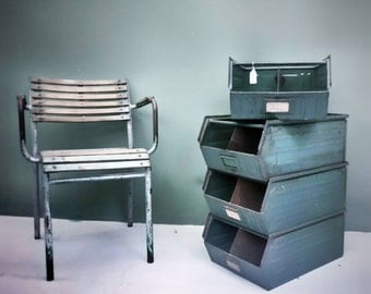 Industrial Vintage Style green boxes stackable