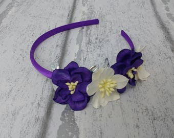 Purple and ivory fascinator, floral Alice band, deep purple magnolias, bridal hair band, UK, floral headdress, Ivory and purple flowers,