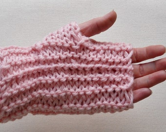 hand knit light pink alpaca and wool fingerless mittens