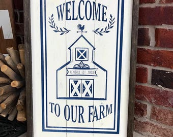 Welcome to our farm wood sign,home distressed wood sign,wall decor,farmhouse,wood framed sign,custom framed sign,family name sign,wood sign