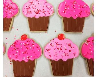 Custom Valentine's Cupcake Sugar Cookies!