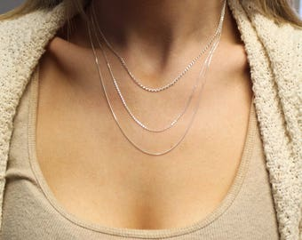 Silver layering chains / 925 Sterling silver necklace set / 3 necklaces / Delicate necklace / everyday necklace / S-T-2