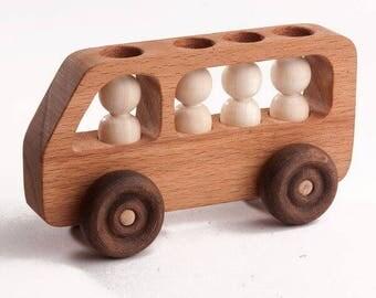 Bus with passengers - Wooden machine, Developmental toys, Handmade toys, Montessori toys, Waldorf toys, Tactile toys, Wooden toys