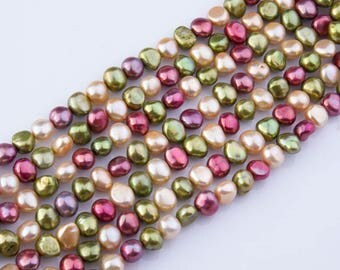 Raspberry, Champagne, Peridot Freshwater Nugget Pearl Beads, Loose Pearls, Semi-Precious Gemstones, Priced per Strand, Natural Beads, PRL119