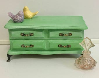 Hand Painted Vintage Shabby Chic Green Jewelry Box Gift for her
