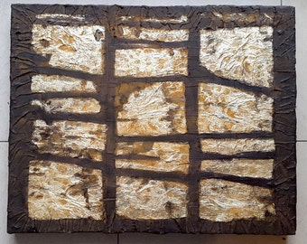 Acrylic painting canvas 50 x 40 gold leaf rust bronze structures modern abstract paintings