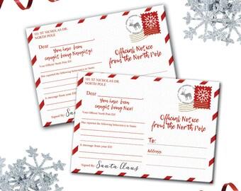 Elf Notice Postcard , Santa Notice Postcard, Nice Notice, Naughty Notice, Printable Elf Report, Santa Claus Official Notice