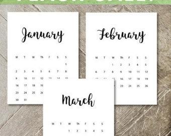 Custom Printable Calendar 2017 | Custom Color Font | Printable Planner | 2017 PDF | Letter, Legal and 5x7 Desk Calendar - SALE 20% OFF now!