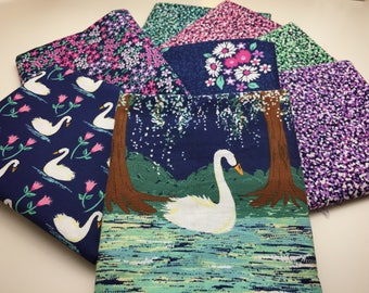 Swan Lake, Fat Quarter, Complete Collection Fabric Bundle, from Michael Miller Fabrics, FQ, Quilting Cotton Fabric