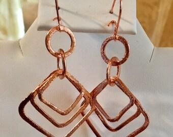 Diamond Shapes Copper Earrings