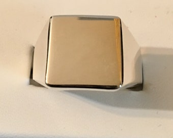 USA FREE SHIPPING!! Gents Large Face Signet Sterling Silver