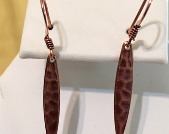 Hammered Antiqued Copper Plated Steel Earring